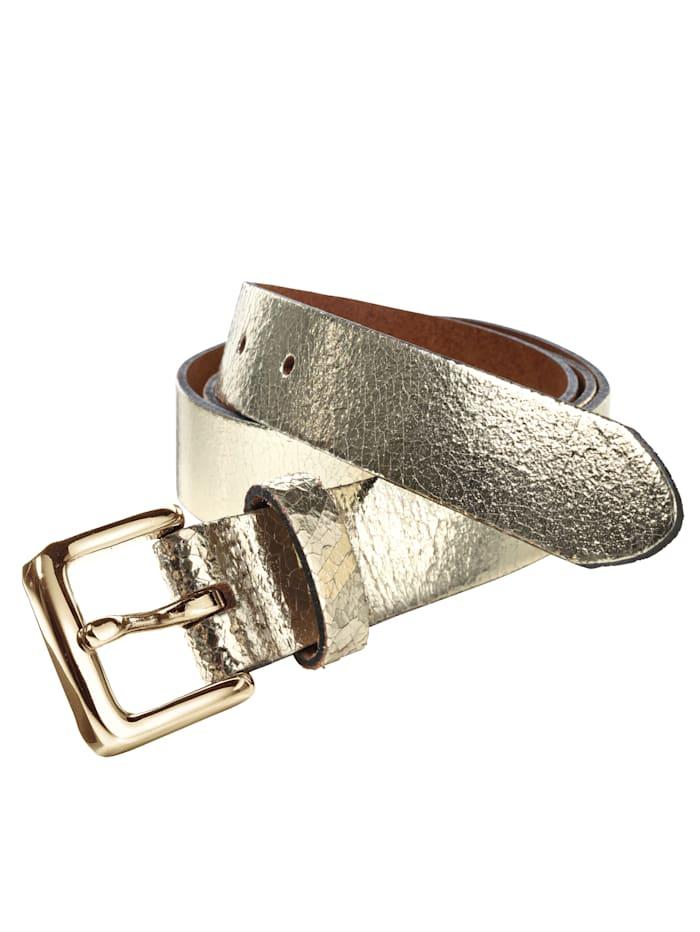 Metallinhohtoinen nahkavyö, Kullanvärinen
