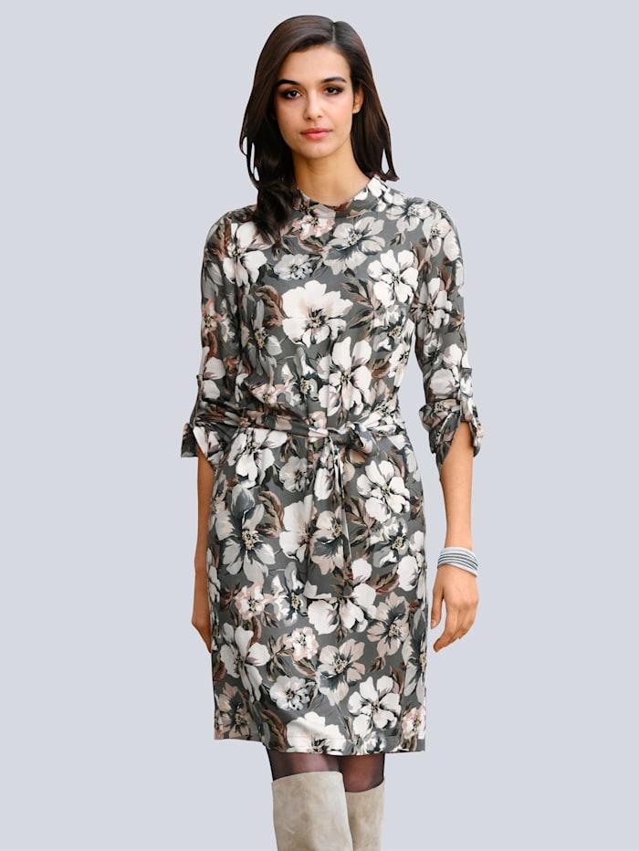 Alba Moda Kleid mit floralem Dessin, Grau/Taupe