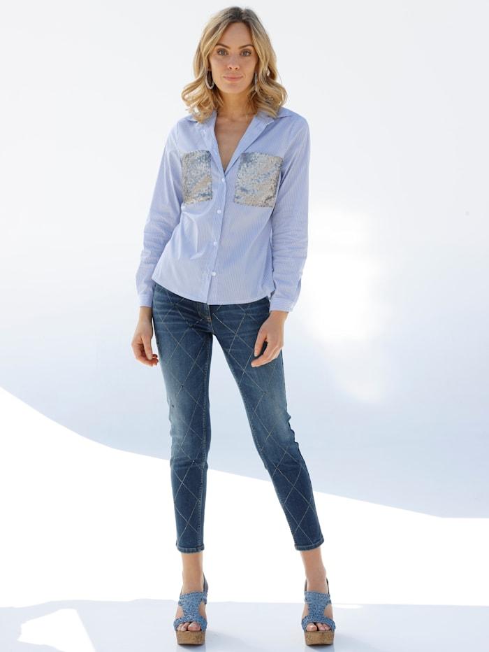 AMY VERMONT Jeans mit Strasssteinen, Blue stone