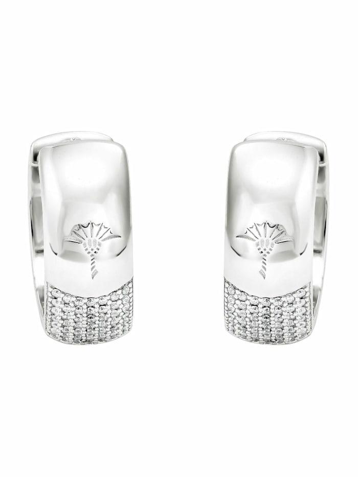 Creolen für Damen, Silber 925, Zirkonia weiß