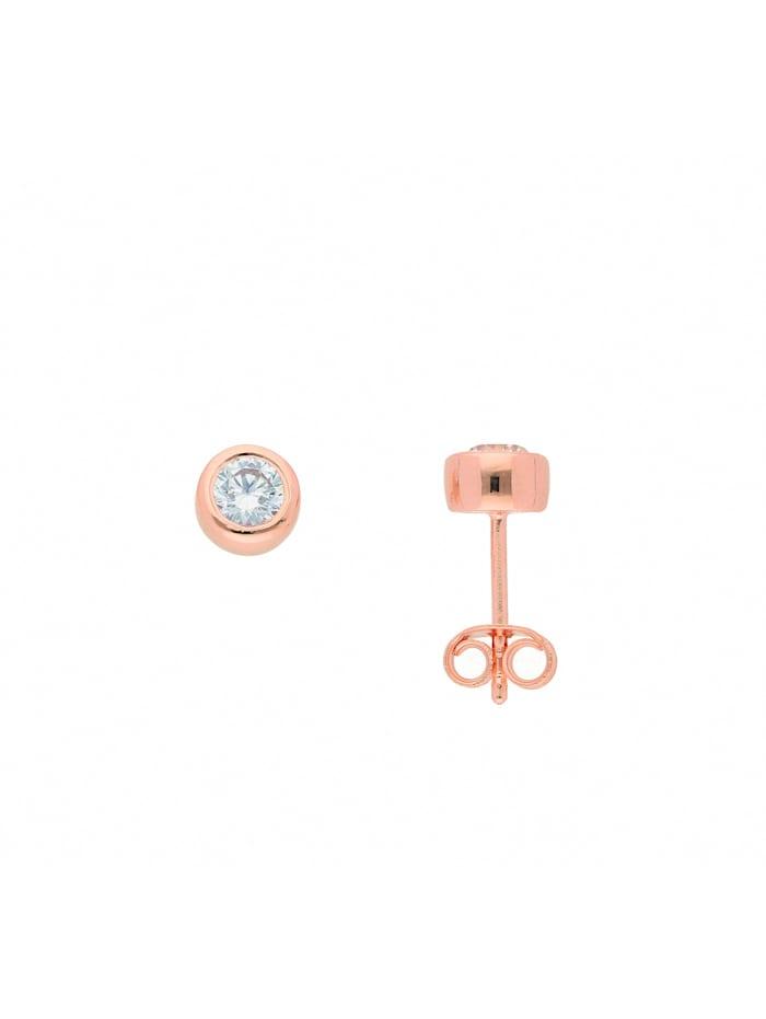 1001 Diamonds Damen Silberschmuck 925 Silber Ohrringe / Ohrstecker mit Zirkonia Ø 6 mm, rose