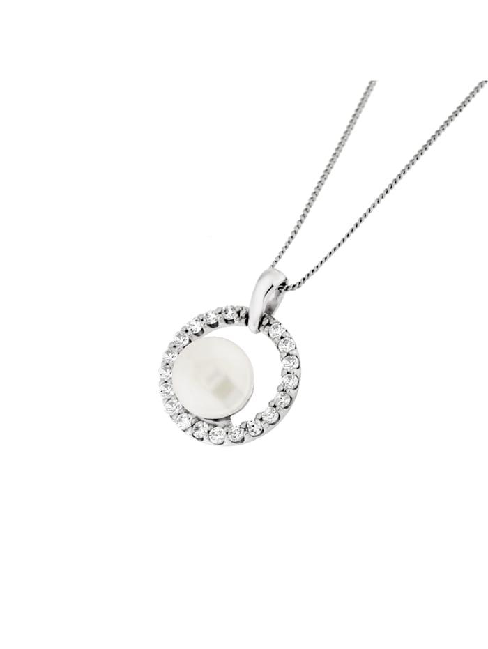 Smart Jewel Kette Zirkonia Steine und Perle, Silber 925, diamantierte Panzerkette, Weiss