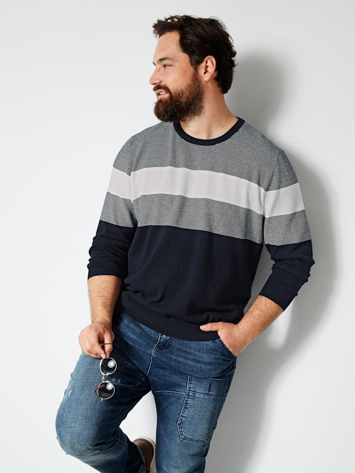 Men Plus Pullover aus reiner Baumwolle, Marineblau/Ecru