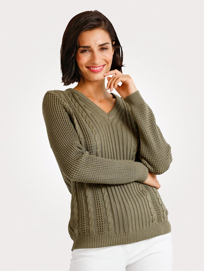 MONA Pullover mit Zopfmuster, Khaki