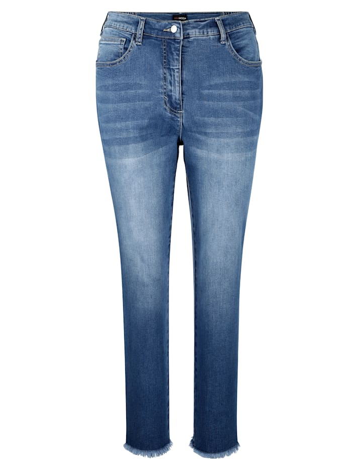 MIAMODA Jeans mit dekorativem Piping, Blue bleached