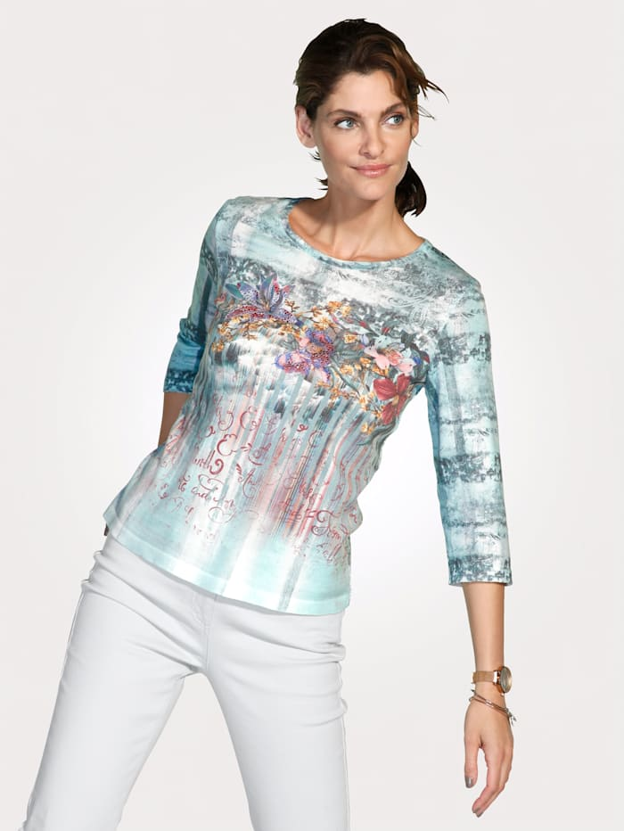 MONA Pullover mit grafischen und floralen Dessin, Mintgrün/Blau