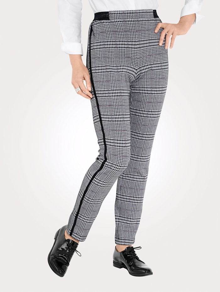 MONA Jersey trousers in a timeless glen check pattern, Black/White/Royal Blue
