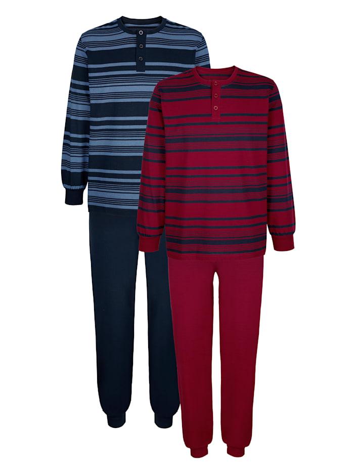 BABISTA Schlafanzüge mit garngefärbtem Streifen, Bordeaux/Marineblau