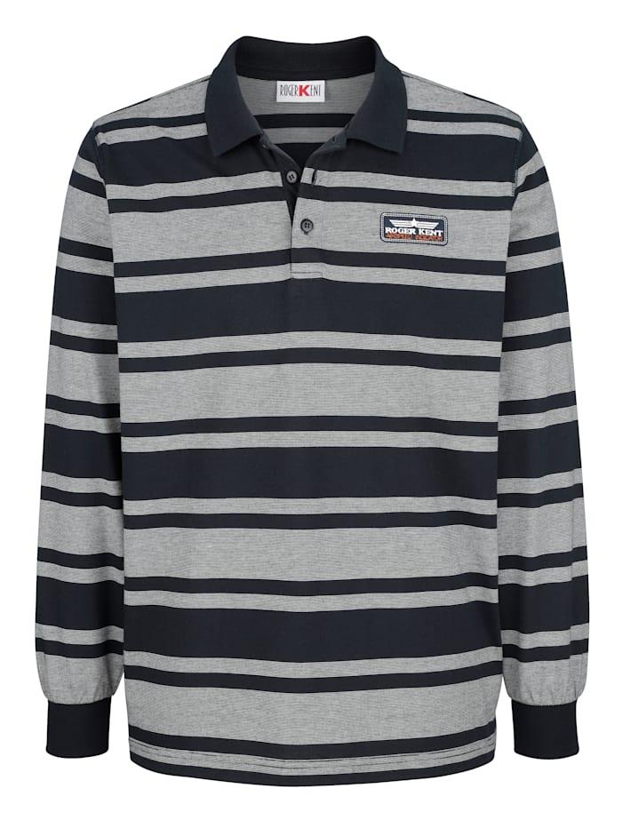 Roger Kent Poloshirt mit garngefärbtem Streifenmuster, Marineblau/Weiß