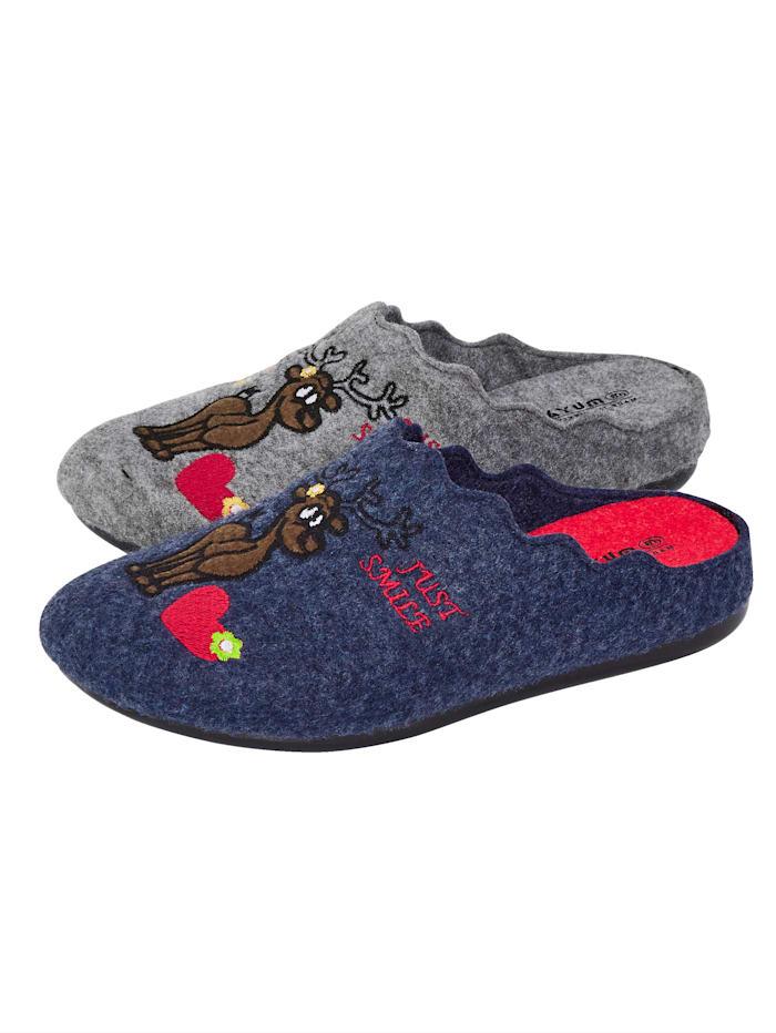 Belafit Pantoffels per 2 paar, Grijs/Blauw