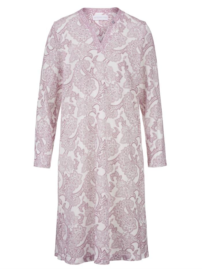 Hutschreuther Nachthemd mit raffiniertem Ausschnitt, ecru/bordeaux