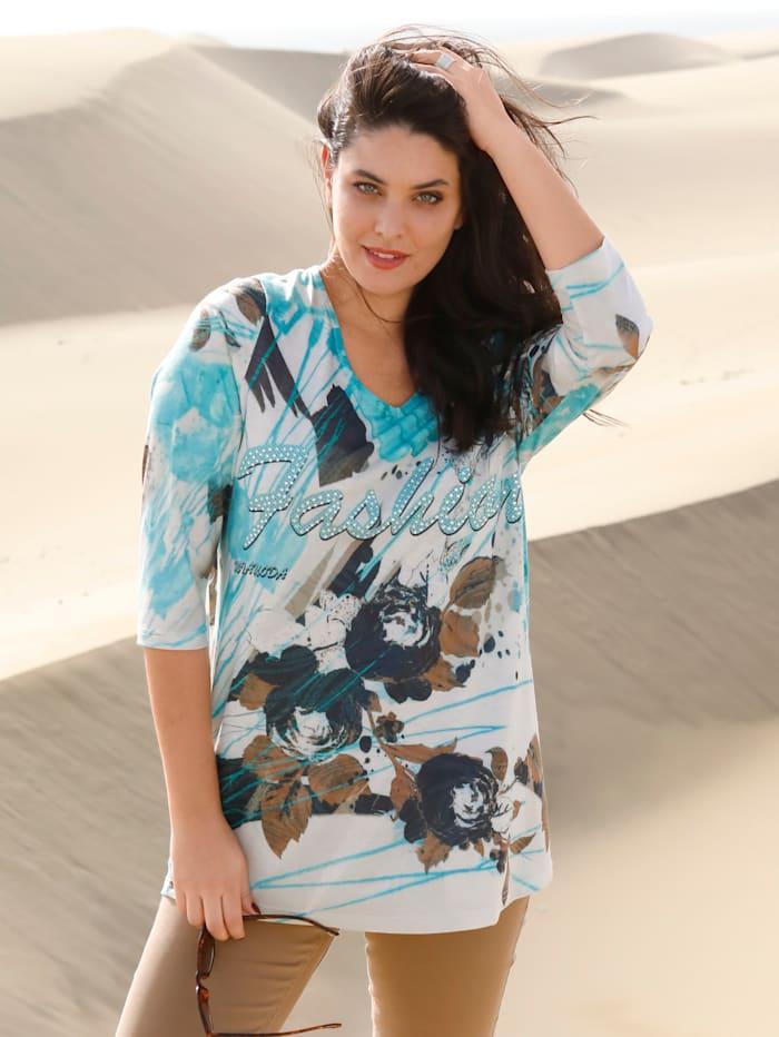 MIAMODA Longshirt mit floralem Muster, Creme-Weiß/Türkis