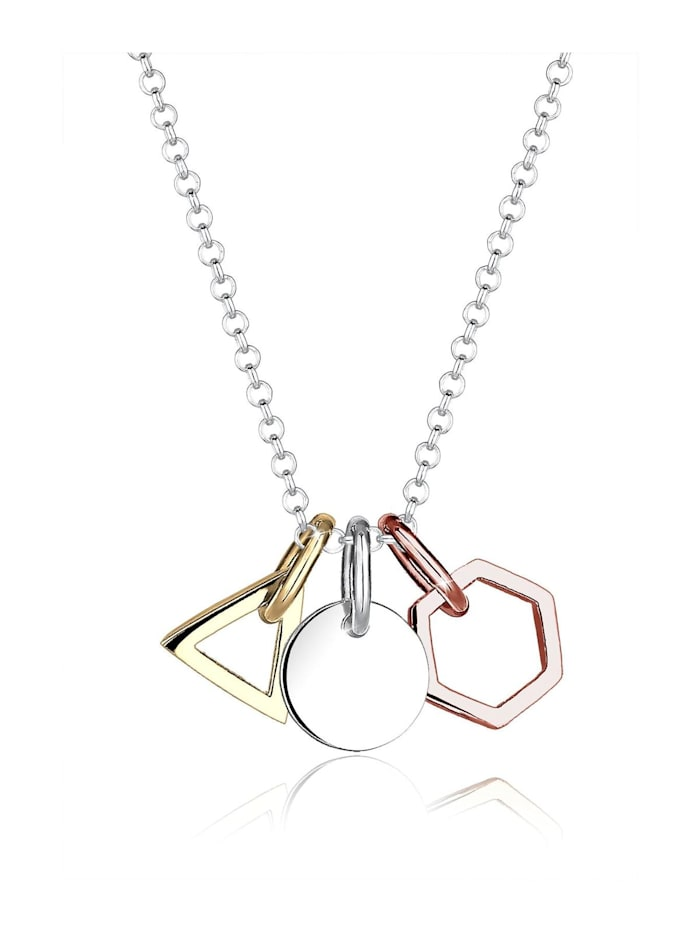 Elli Halskette Geo Dreieck Hexagon Kreis Tricolor Silber, Silber