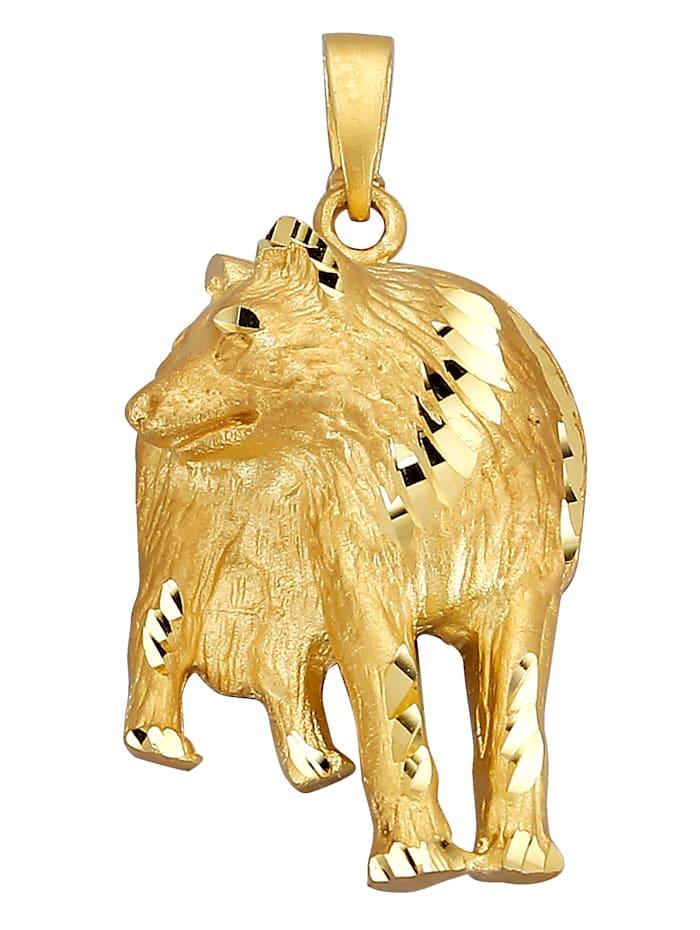 Diemer Gold Wolf-Anhänger, Gelb