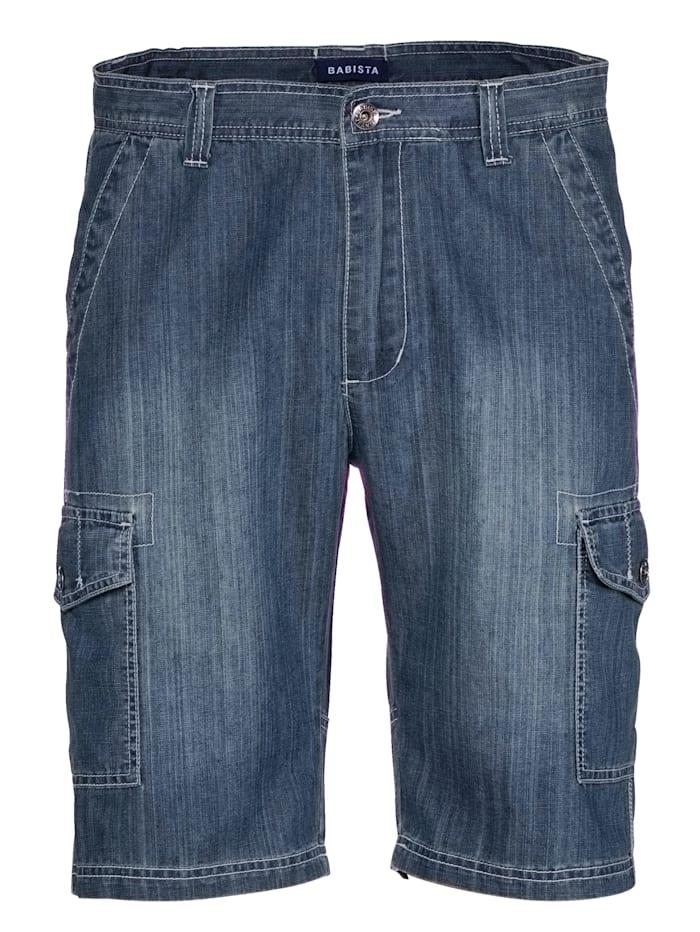 BABISTA Bermuda en jean avec poches cargo, Blue stone