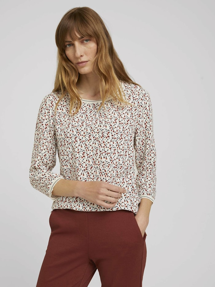 Tom Tailor Gemustertes 3/4 Arm Shirt, beige maroon blue minimal