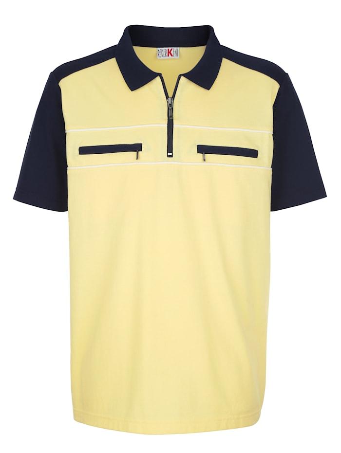 Roger Kent Poloshirt in bügelleichter Qualität, Gelb/Marineblau