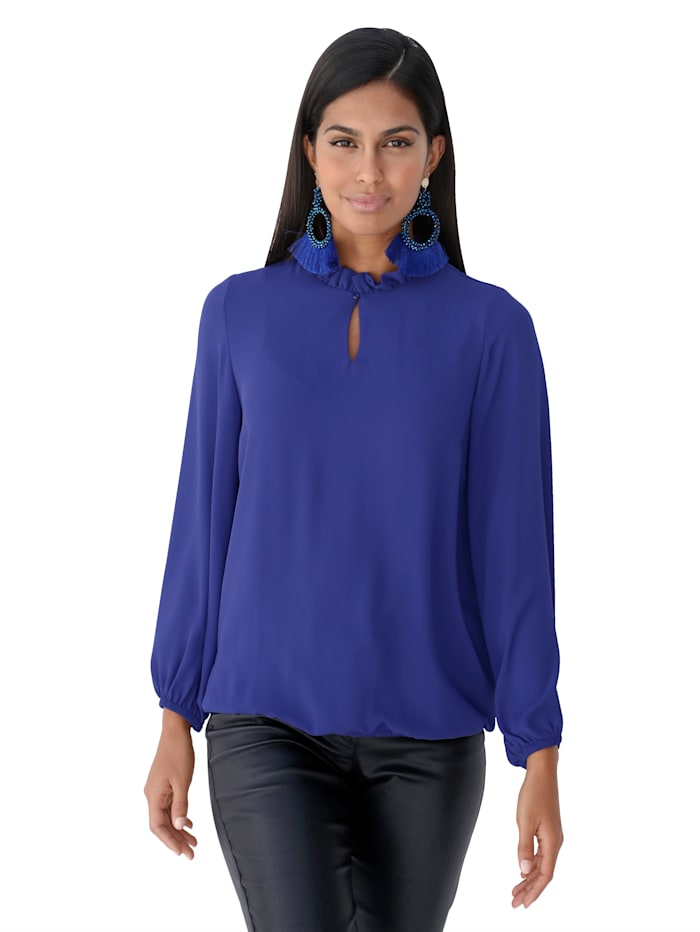 AMY VERMONT Blouse met ruches, Royal blue