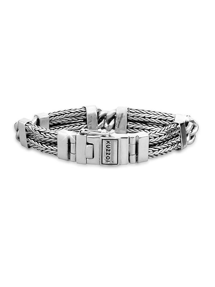 Kuzzoi Armband Herren Gliederarmband Schlangenkette 925 Silber, Silber