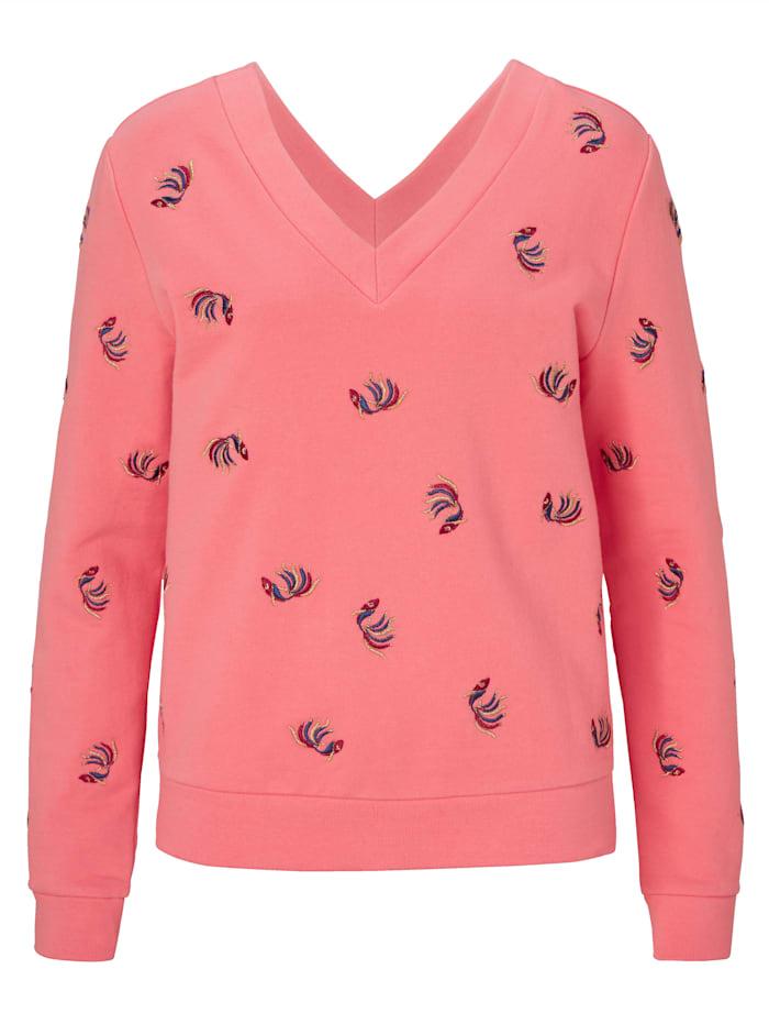 REKEN MAAR Sweatshirt mit Rückenausschnitt, Rosé