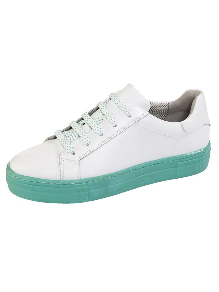 Liva Loop Sneaker met contrastkleurige plateauzool, Wit/Mint