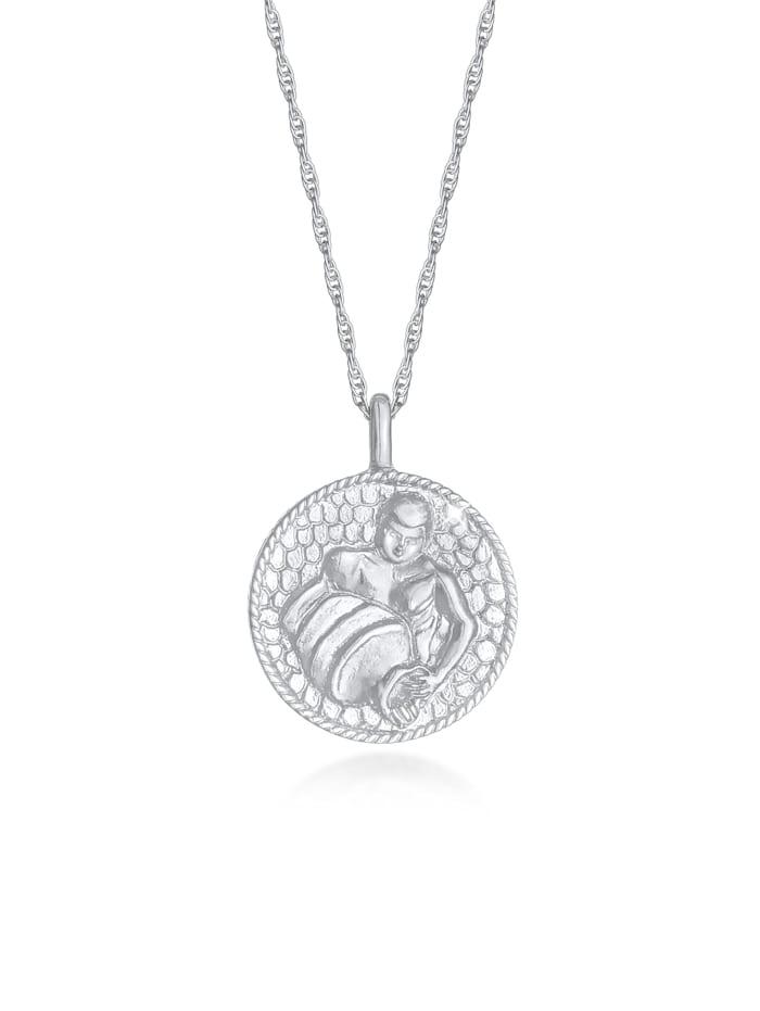 Elli Halskette Sternzeichen Wassermann Münze 925 Silber, Silber