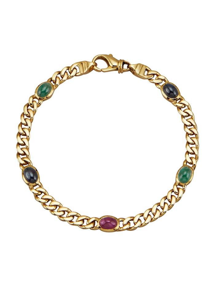 Amara Pierres colorées Bracelet maille gourmette avec pierres fantaisie de couleur, Multicolore