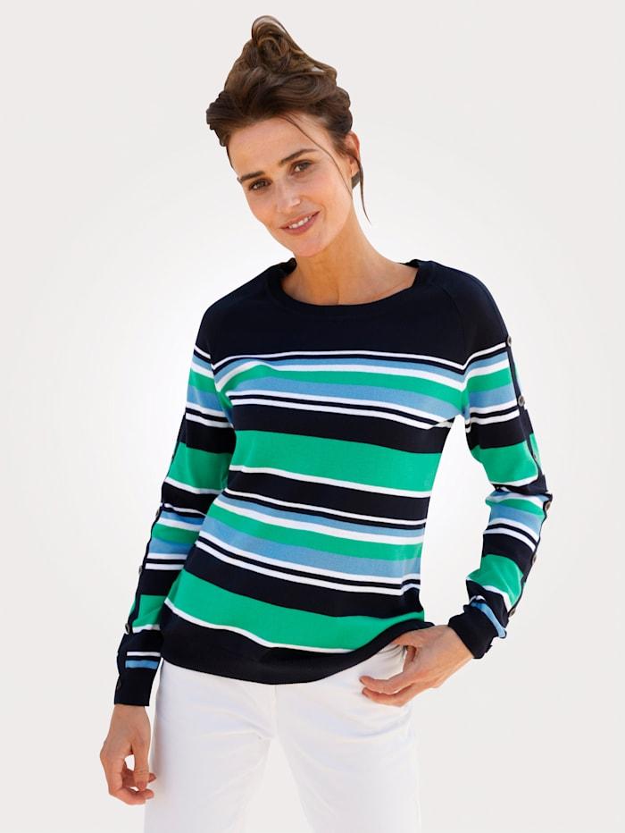 MONA Pullover mit Zierknöpfen, Marineblau/Grün/Natur