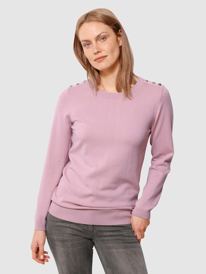 Laura Kent Pullover mit dekorativen Knöpfen, Lavendel
