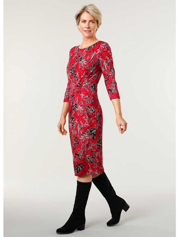 MONA Jersey jurk met flatterende plooitjes, Rood/Zwart/Wit