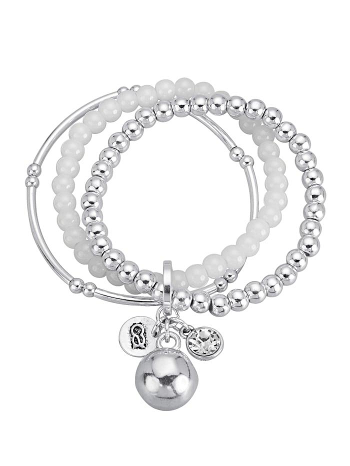 3 rhg. Armband, Silberfarben