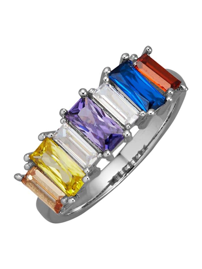 Damesring van echt zilver, Multicolor