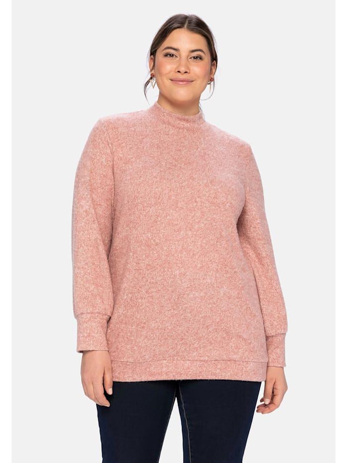 Sheego Langarmshirt aus Feinstrick mit Knopfleiste im Rücken, marone