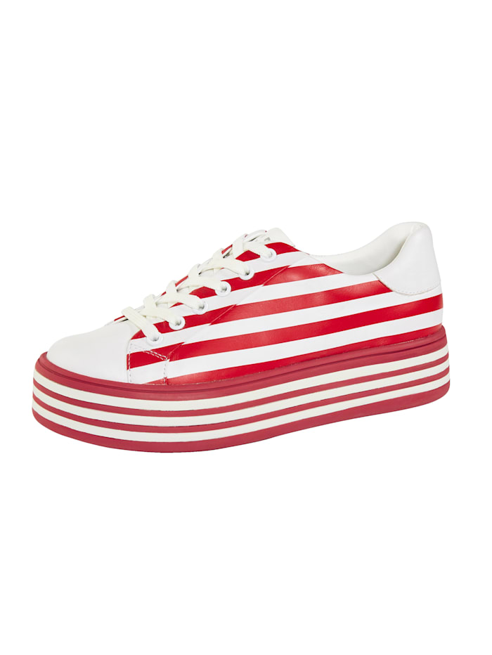 Gerry Weber Sneaker met modieuze strepen, Rood/Wit