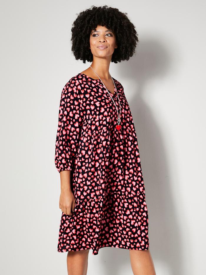 Angel of Style Kleid aus reiner Viskose, Schwarz/Rot/Pink
