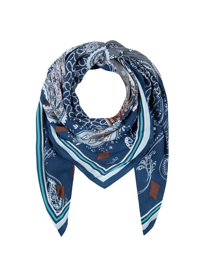 Codello XL-Tuch aus Viskose mit Logo- und Paisley-Print, navy blue
