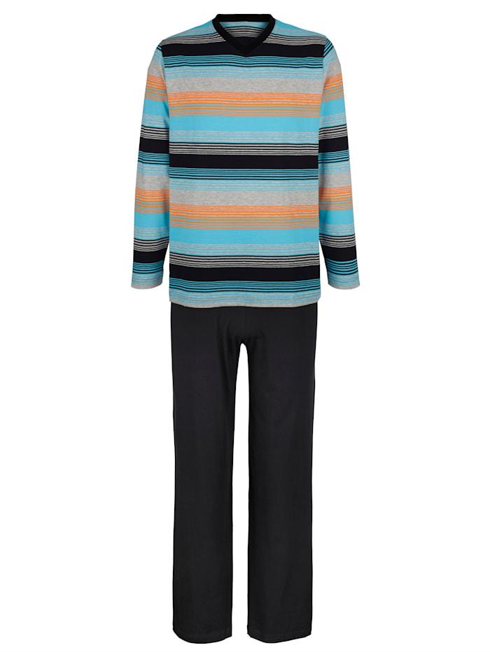 Pyjama, 1 x zwart/turquoise/oranje