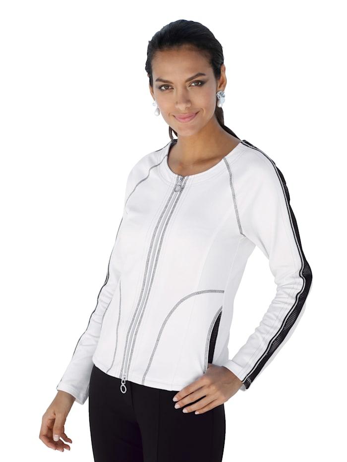 Betty Barclay Shirtjacke mit Ziernähten, Weiß/Schwarz