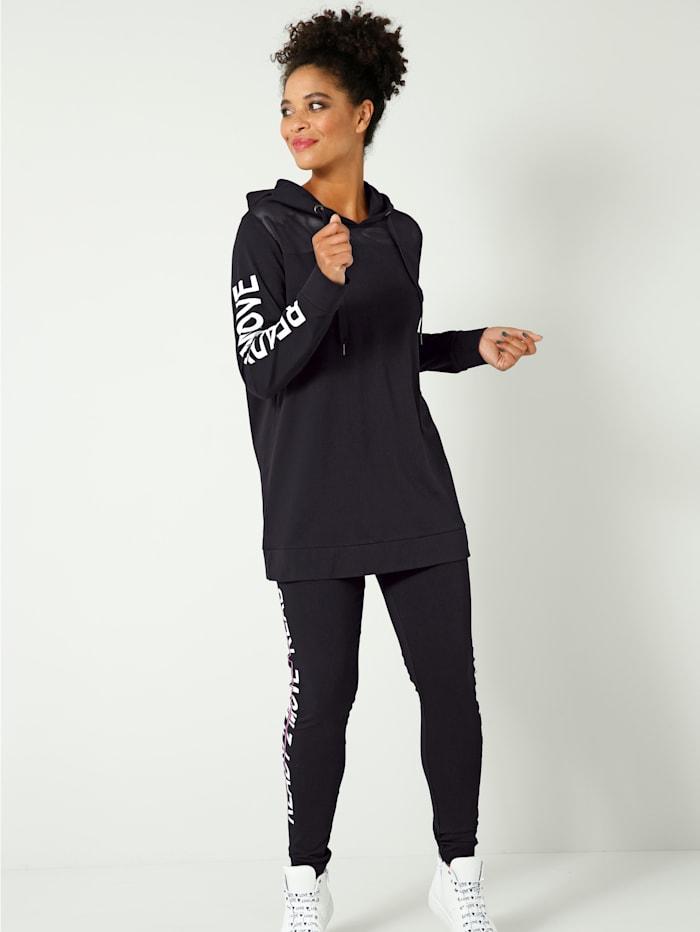 Janet & Joyce Sweatshirt mit Mesh-Einsatz im Schulterbereich, Schwarz/Weiß