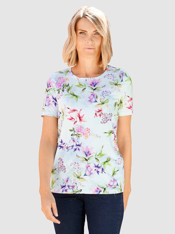 Paola Topp med vackert blommönster, Benvit/Lila/Olivgrön