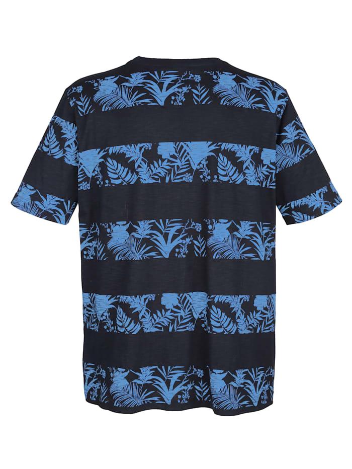 T-shirt met gebloemd streeppatroon