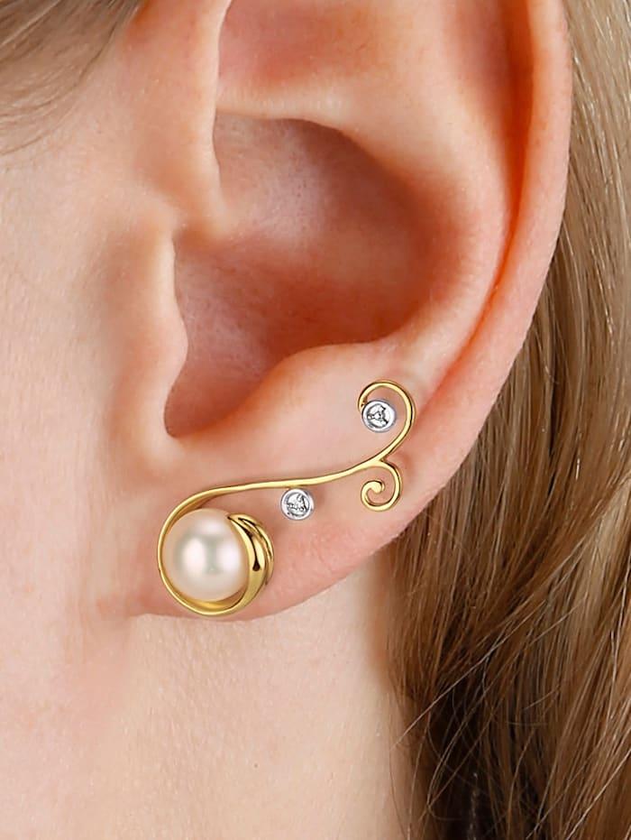 Boucles d'oreilles serties de perles de culture d'eau douce