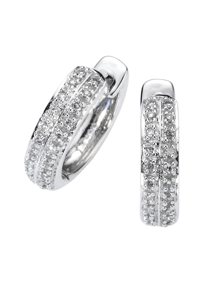 Diamonds by Ellen K. Creolen 585/- Gold Diamant weiß Diamant 1,3cm Glänzend 0,10 Karat 585/- Gold, weiß