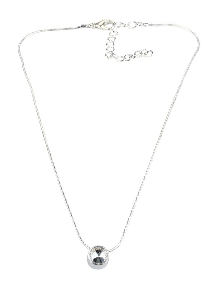 Collezione Alessandro Kurze Kette Neyla mit einem kleinen Glasstein, silber
