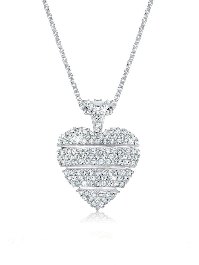 Elli Halskette Herz Liebe Kristalle Lovely 925 Silber, Weiß