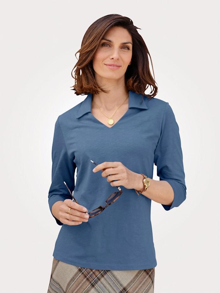 MONA Poloshirt in Flammgarn-Qualität, Blau
