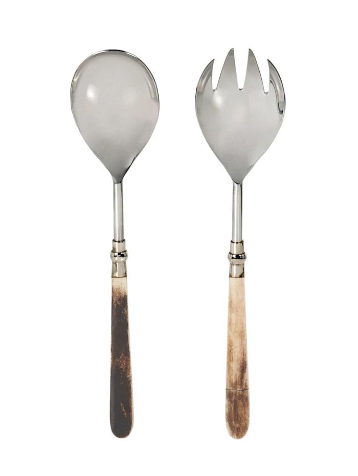 IMPRESSIONEN living Salatbesteck-Set, 2-tlg., silberfarben/beige/braun
