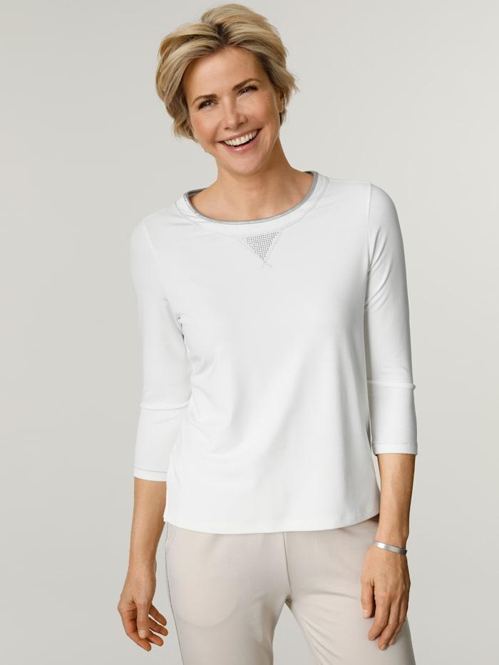MONA Shirt mit silbernen Ziernähten und Strassapplikation, Ecru/Silberfarben