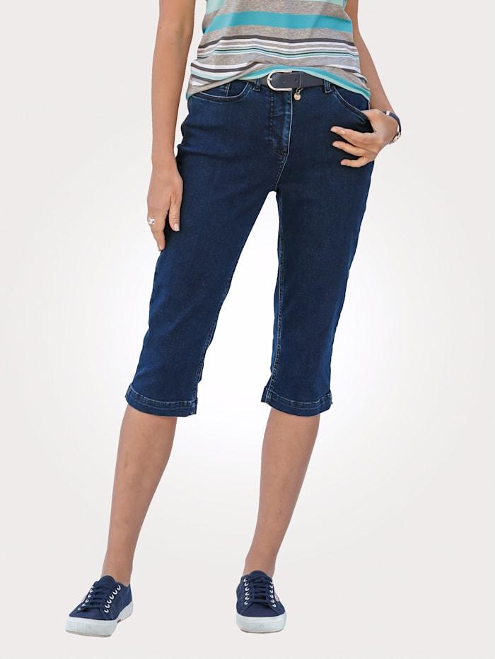 MONA Capri jeans with side slits, Dark Blue