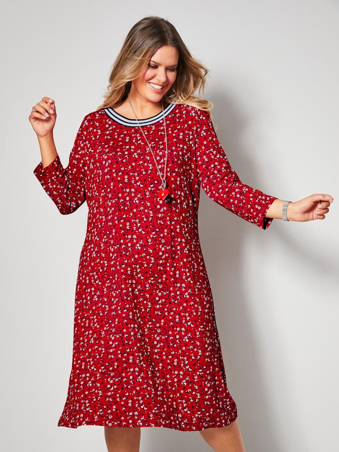 Jerseykleid mit Ringelbund am Ausschnitt